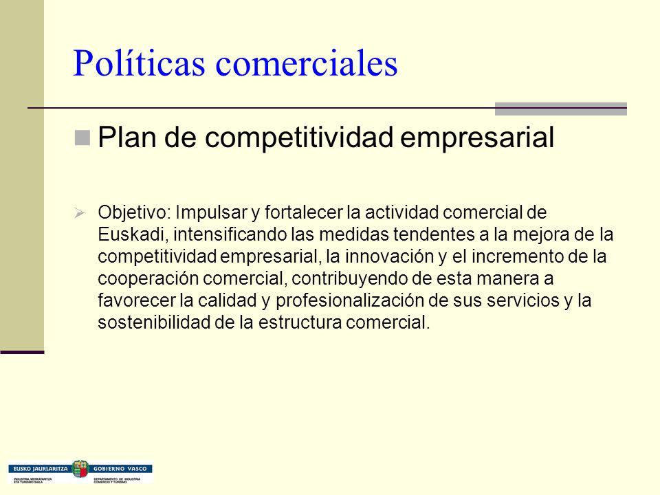 Políticas comerciales Plan de competitividad empresarial Objetivo: Impulsar y fortalecer la actividad comercial de Euskadi, intensificando las medidas tendentes a la mejora de la competitividad empresarial, la innovación y el incremento de la cooperación comercial, contribuyendo de esta manera a favorecer la calidad y profesionalización de sus servicios y la sostenibilidad de la estructura comercial.