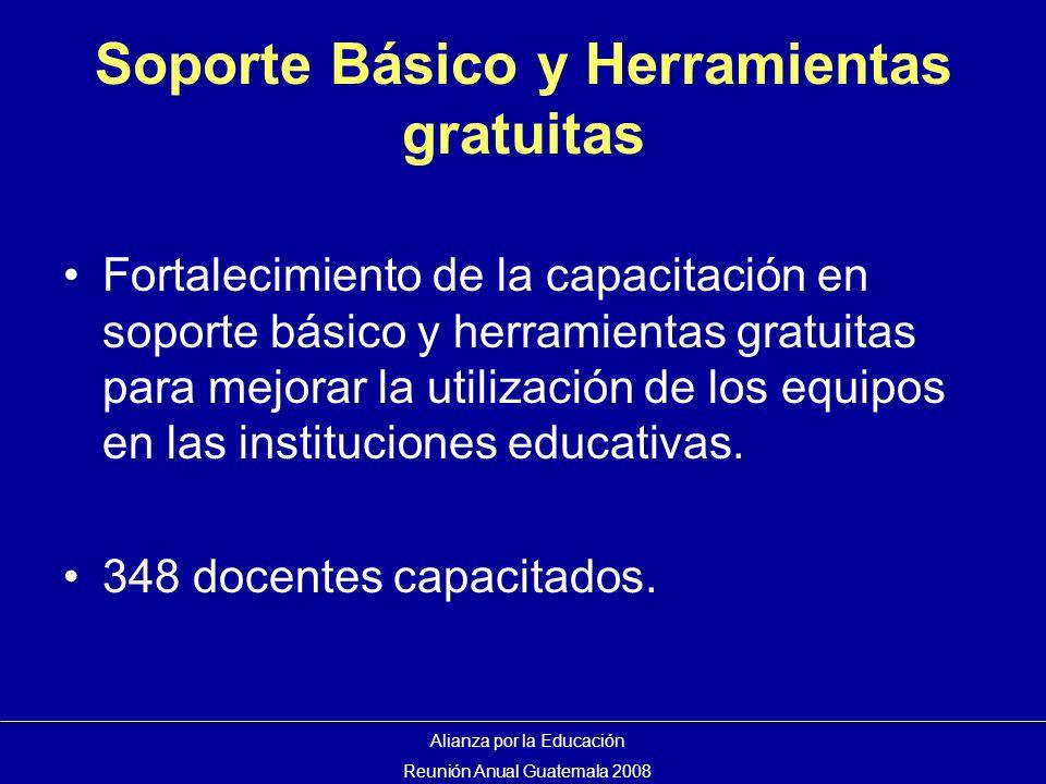 Soporte Básico y Herramientas gratuitas Fortalecimiento de la capacitación en soporte básico y herramientas gratuitas para mejorar la utilización de los equipos en las instituciones educativas.