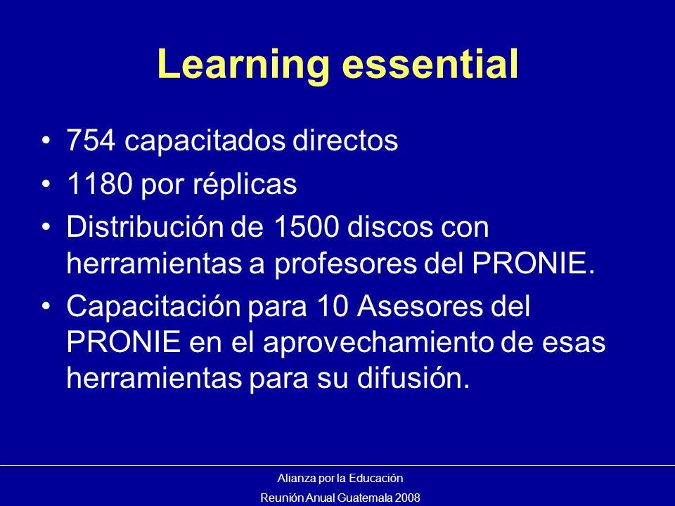 Learning essential 754 capacitados directos 1180 por réplicas Distribución de 1500 discos con herramientas a profesores del PRONIE.