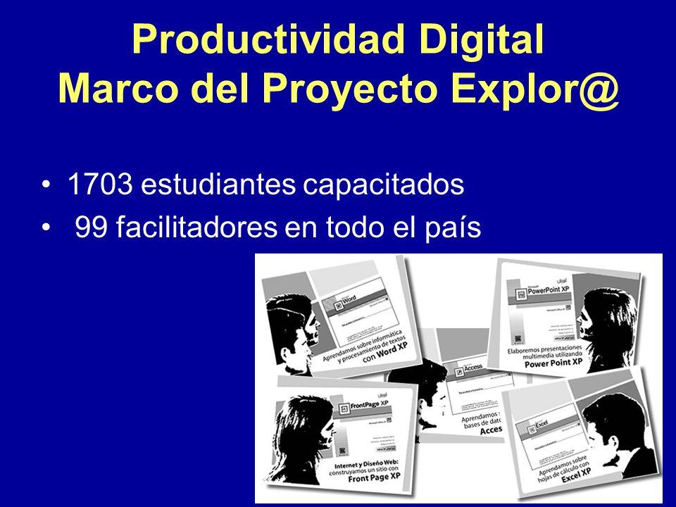Productividad Digital Marco del Proyecto Explor@ 1703 estudiantes capacitados 99 facilitadores en todo el país