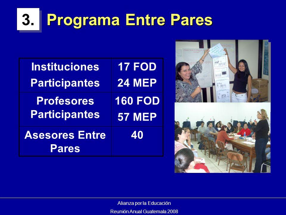 Programa Entre Pares Instituciones Participantes 17 FOD 24 MEP Profesores Participantes 160 FOD 57 MEP Asesores Entre Pares 40 Alianza por la Educación Reunión Anual Guatemala 2008 3.