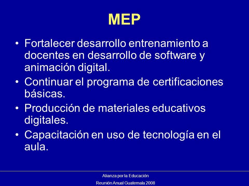 MEP Fortalecer desarrollo entrenamiento a docentes en desarrollo de software y animación digital.