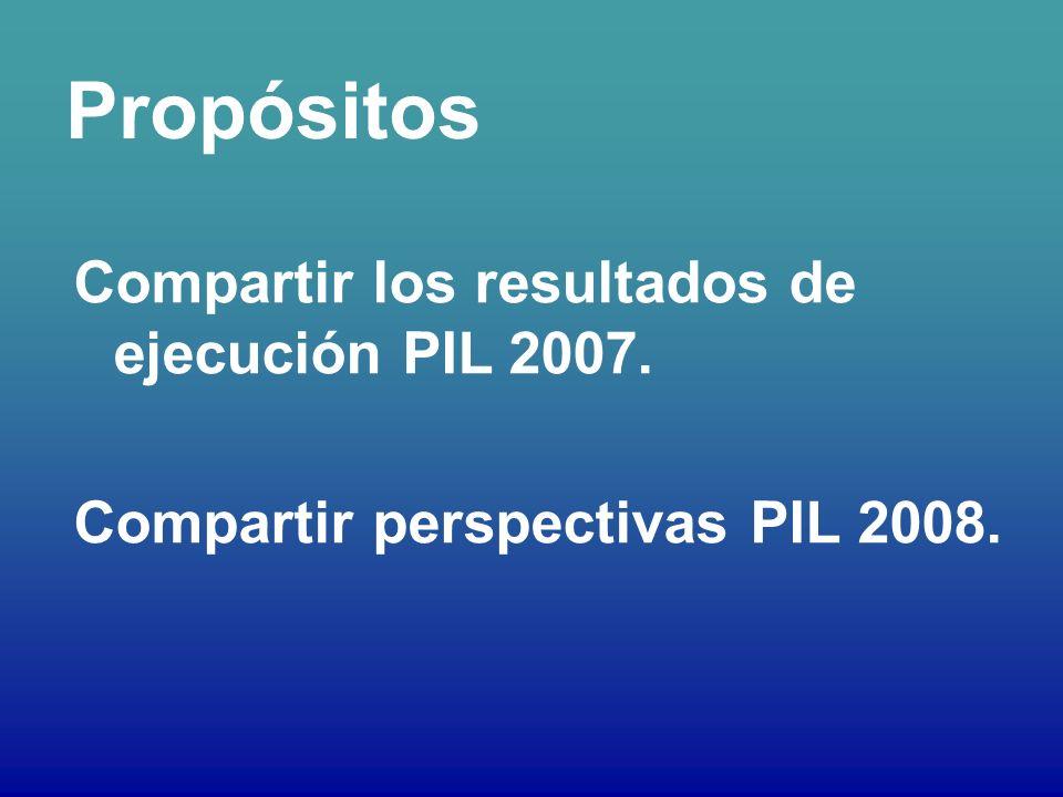 Propósitos Compartir los resultados de ejecución PIL 2007. Compartir perspectivas PIL 2008.