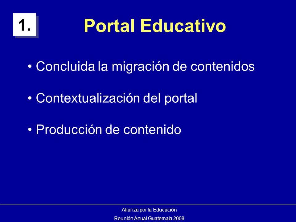 Portal Educativo Concluida la migración de contenidos Contextualización del portal Producción de contenido 1.