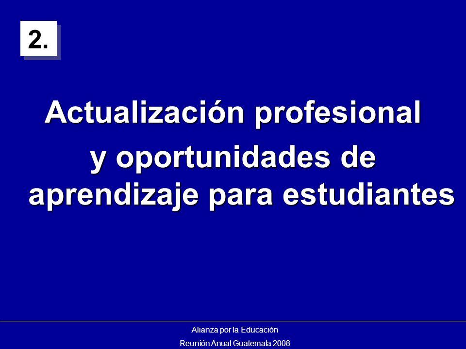 Actualización profesional y oportunidades de aprendizaje para estudiantes Alianza por la Educación Reunión Anual Guatemala 2008 2.