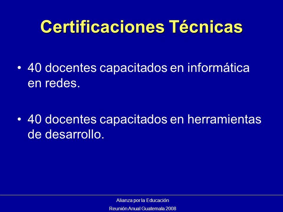 Certificaciones Técnicas 40 docentes capacitados en informática en redes.
