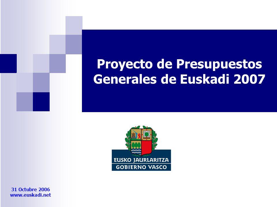 31 Octubre 2006 www.euskadi.net Proyecto de Presupuestos Generales de Euskadi 2007
