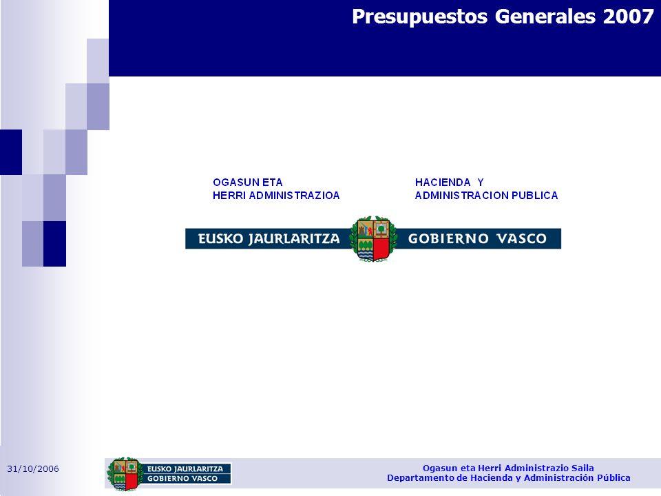 31/10/2006 Ogasun eta Herri Administrazio Saila Departamento de Hacienda y Administración Pública Presupuestos Generales 2007