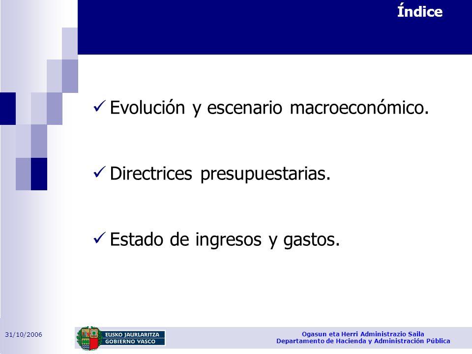 31/10/2006 Ogasun eta Herri Administrazio Saila Departamento de Hacienda y Administración Pública Evolución y escenario macroeconómico. Directrices pr