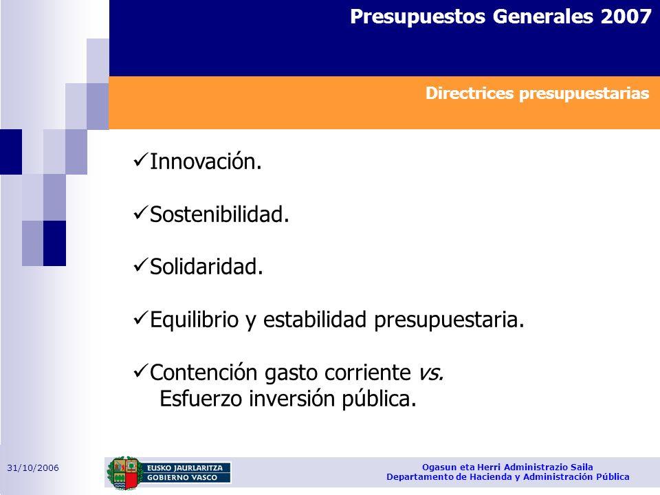 31/10/2006 Ogasun eta Herri Administrazio Saila Departamento de Hacienda y Administración Pública Presupuestos Generales 2007 Innovación. Sostenibilid