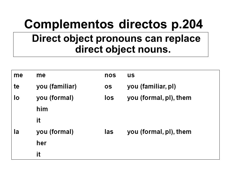 Complementos directos p.204 Direct object pronouns can replace direct object nouns.