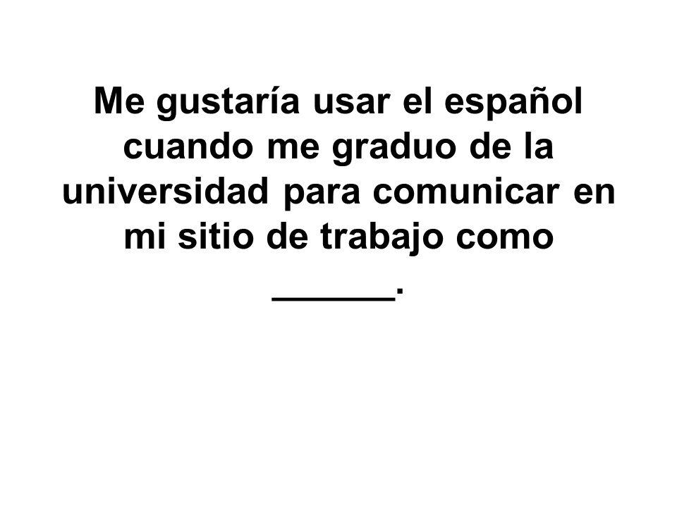 Además hablar español me ayudará salir con chicos(as) hispanohablantes.