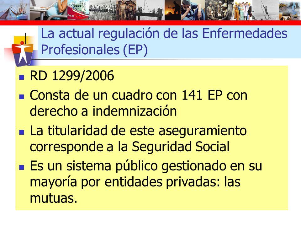 La actual regulación de las Enfermedades Profesionales (EP) RD 1299/2006 Consta de un cuadro con 141 EP con derecho a indemnización La titularidad de