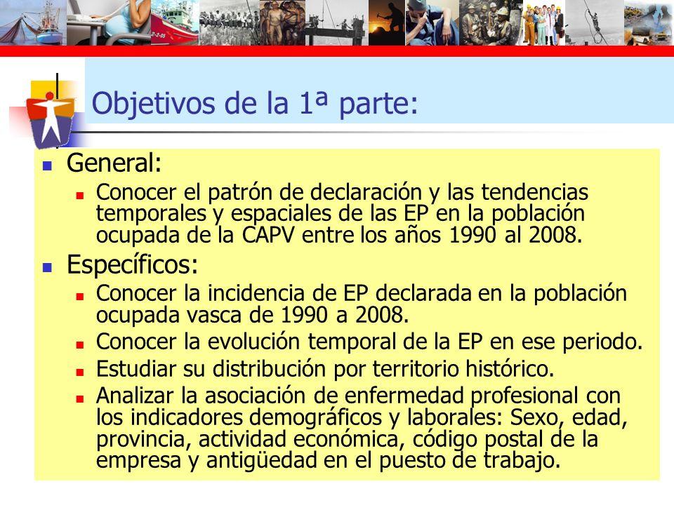 Objetivos de la 1ª parte: General: Conocer el patrón de declaración y las tendencias temporales y espaciales de las EP en la población ocupada de la C