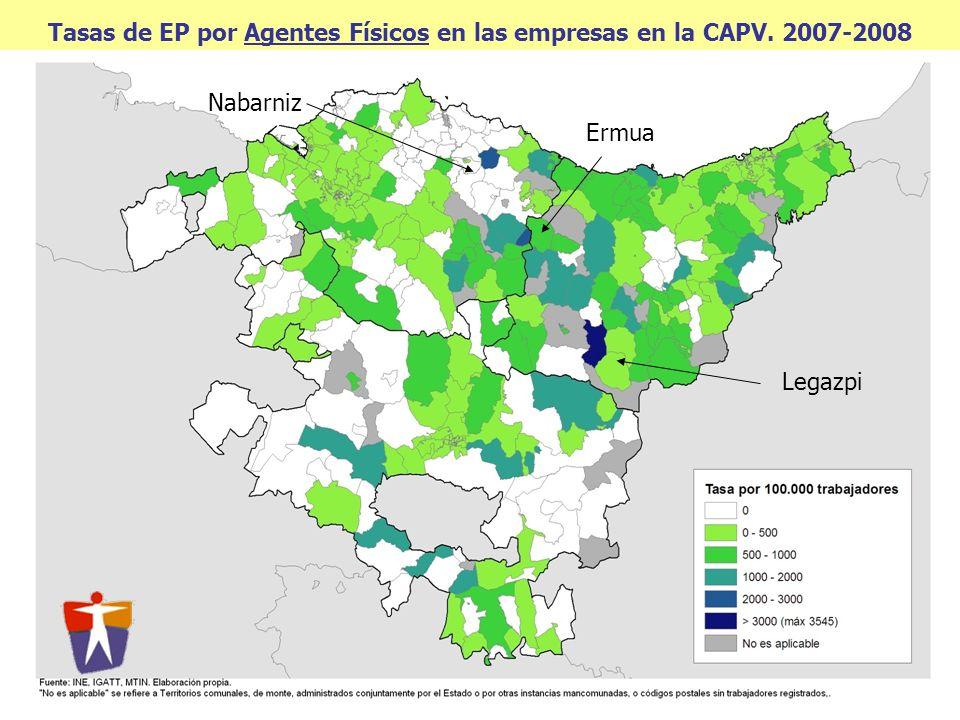 Tasas de EP por Agentes Físicos en las empresas en la CAPV. 2007-2008 Legazpi Ermua Nabarniz