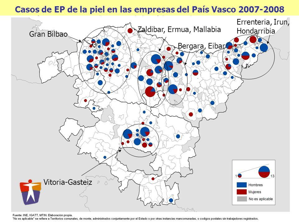 Casos de EP de la piel en las empresas del País Vasco 2007-2008 Gran Bilbao Zaldibar, Ermua, Mallabia Bergara, Eibar Errenteria, Irun, Hondarribia Vit