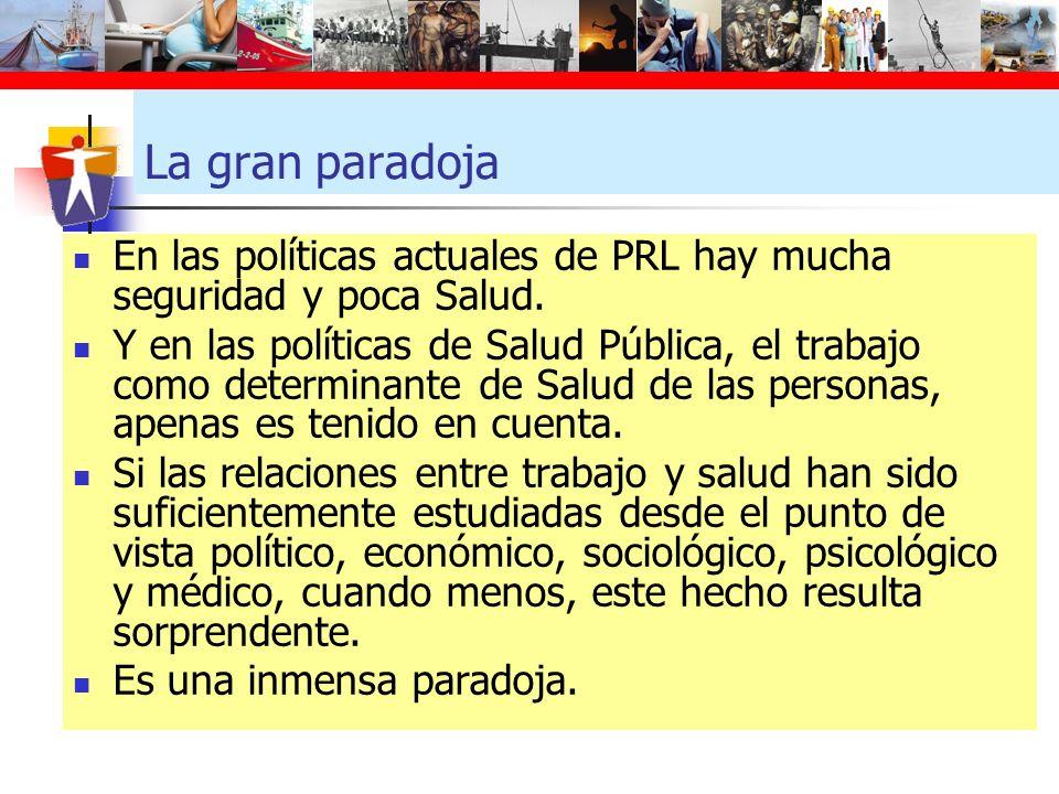 La gran paradoja En las políticas actuales de PRL hay mucha seguridad y poca Salud. Y en las políticas de Salud Pública, el trabajo como determinante