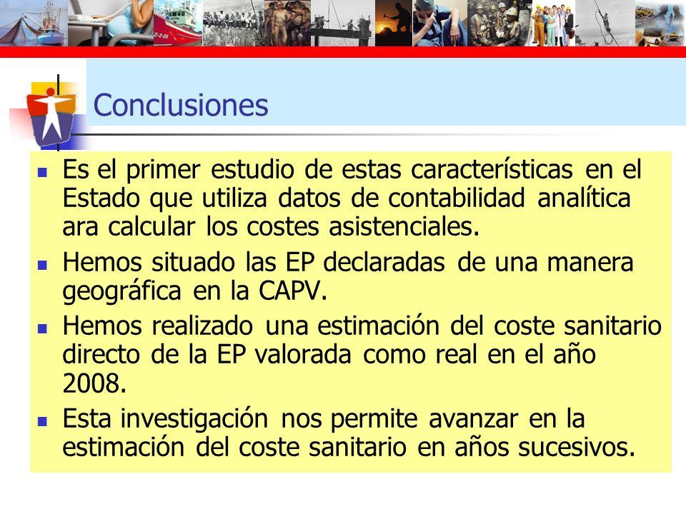 Conclusiones Es el primer estudio de estas características en el Estado que utiliza datos de contabilidad analítica ara calcular los costes asistencia