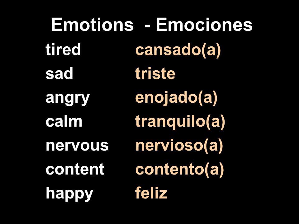 Emotions - Emociones tiredcansado(a) sadtriste angryenojado(a) calmtranquilo(a) nervousnervioso(a) contentcontento(a) happyfeliz