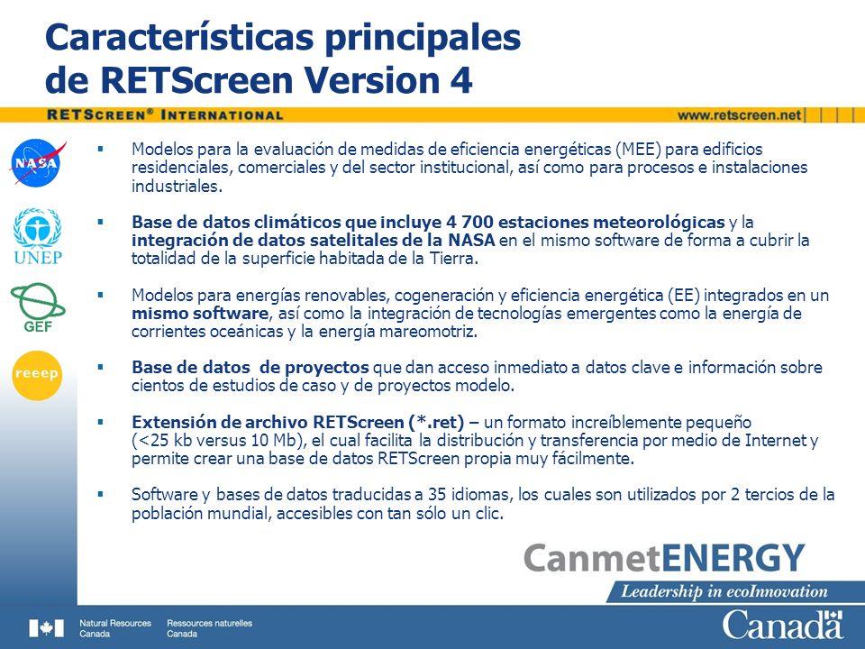 Características principales de RETScreen Version 4 Modelos para la evaluación de medidas de eficiencia energéticas (MEE) para edificios residenciales,