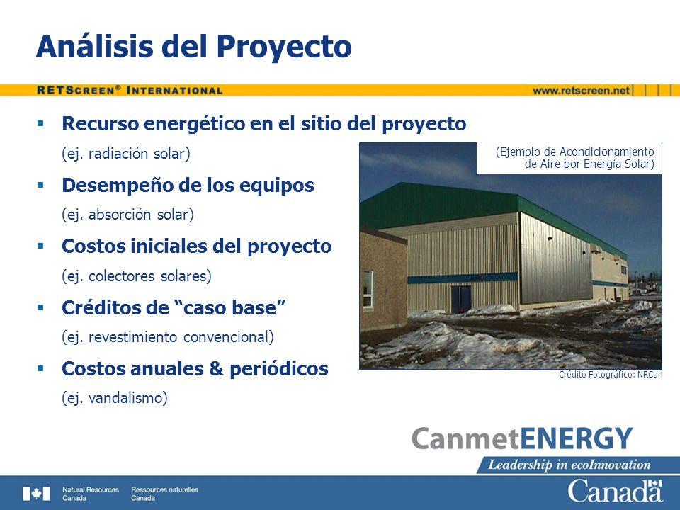 Análisis del Proyecto Recurso energético en el sitio del proyecto (ej. radiación solar) Desempeño de los equipos (ej. absorción solar) Costos iniciale