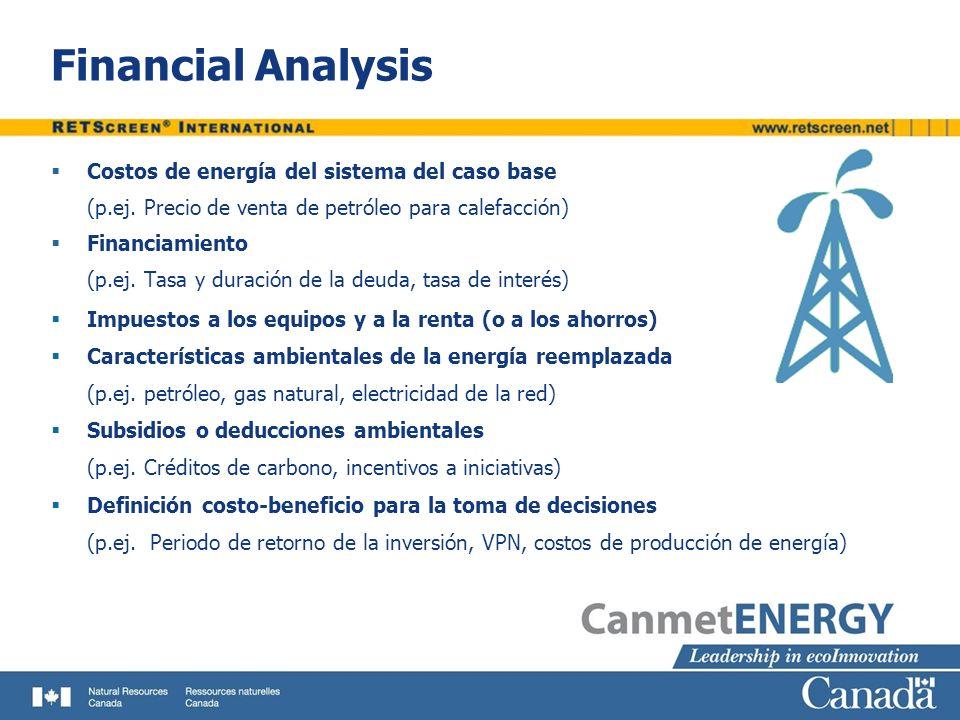 Financial Analysis Costos de energía del sistema del caso base (p.ej. Precio de venta de petróleo para calefacción) Financiamiento (p.ej. Tasa y durac