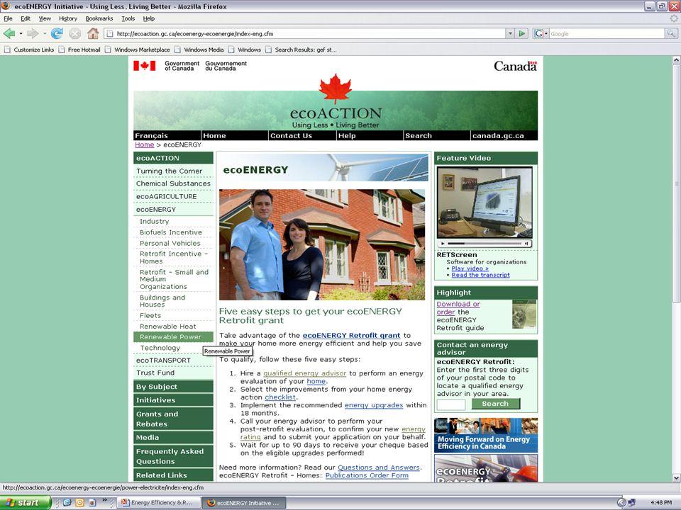 Ejemplo de Proyecto: Eólico Información Básica: Molino de viento de 2.000 kW Costo @ $2.000/kW Factor de capacidad @ 23% Escenario 1: Tasa de electricidad @ $0,11/kWh Escenario 2: Incentivo ecoEnergy @ $0,01/kWh o $15/tonelada comercialización de emisiones de GEI (gases de efecto invernadero) Crédito Fotográfico: Toronto Hydro/WindShare