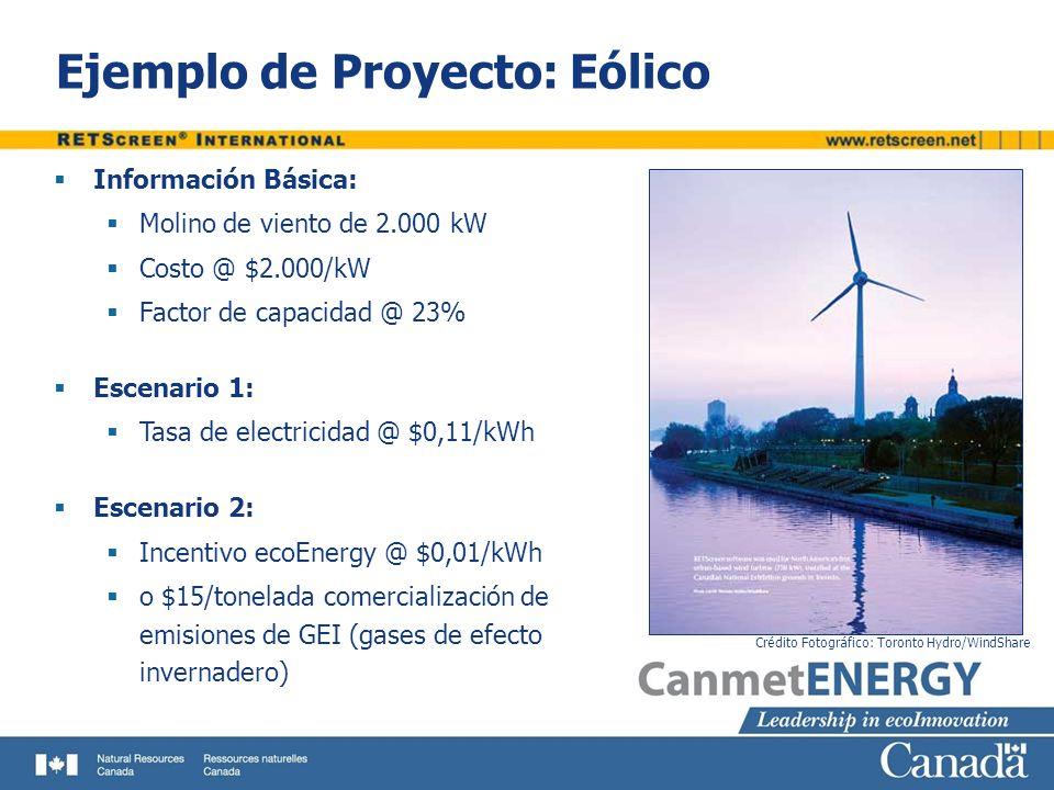 Ejemplo de Proyecto: Eólico Información Básica: Molino de viento de 2.000 kW Costo @ $2.000/kW Factor de capacidad @ 23% Escenario 1: Tasa de electric