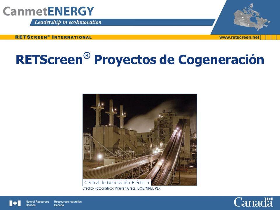 Ejemplo de Validación del Modelo de Proyectos de Cogeneración RETScreen ® Validación total realizada por consultor independiente (FVB Energy Inc.) y por numerosos examinadores beta de la industria, empresas de servicio público, gobierno y académicos Comparado con muchos otros modelos y/o datos medidos, con excelentes resultados (por ejemplo cálculos de desempeño de turbinas a vapor comparado con el software de simulación de proceso energético GE denominado GateCycle) Kpph = 1000 lbs/hr Cálculo de Comparación de Desempeño de Turbinas a Vapor