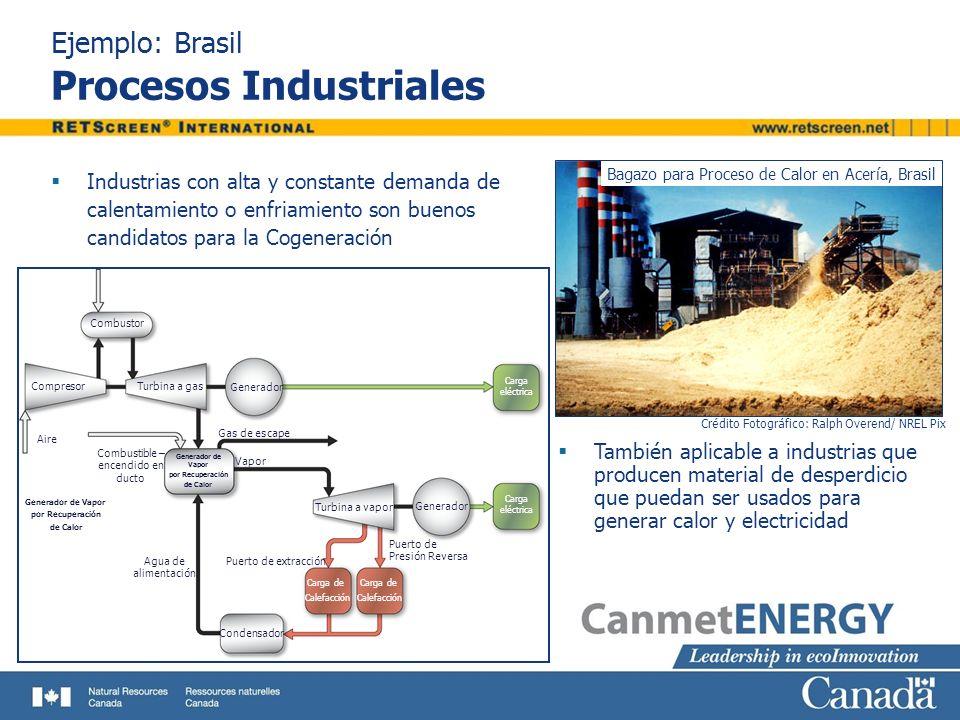 Ejemplo: Brasil Procesos Industriales Industrias con alta y constante demanda de calentamiento o enfriamiento son buenos candidatos para la Cogeneraci
