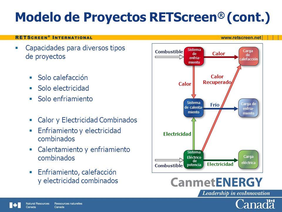 Modelo de Proyectos RETScreen ® (cont.) Capacidades para diversos tipos de proyectos Solo calefacción Solo electricidad Solo enfriamiento Calor y Elec