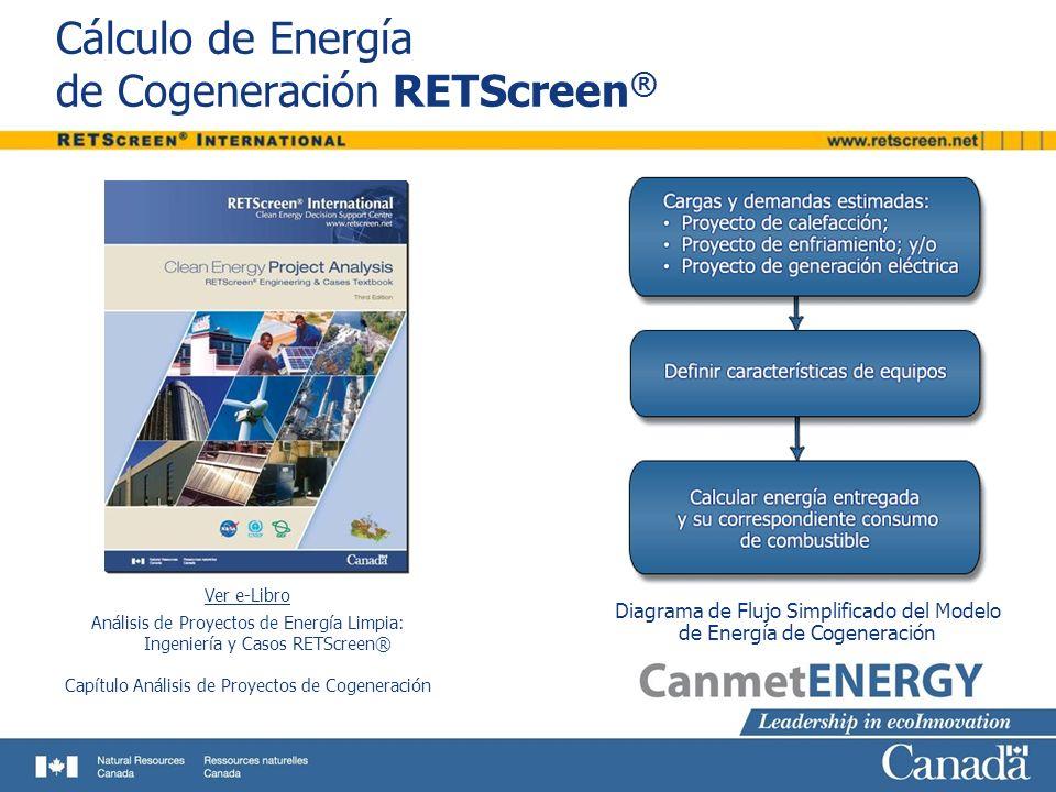 Cálculo de Energía de Cogeneración RETScreen ® Ver e-Libro Análisis de Proyectos de Energía Limpia: Ingeniería y Casos RETScreen® Capítulo Análisis de