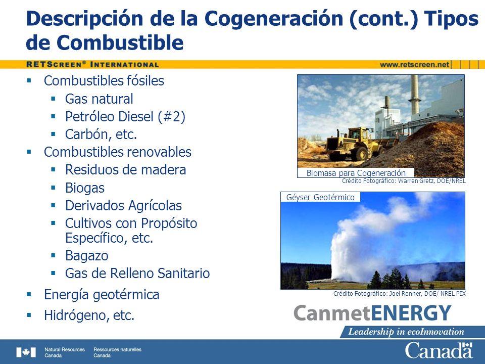 Descripción de la Cogeneración (cont.) Tipos de Combustible Combustibles fósiles Gas natural Petróleo Diesel (#2) Carbón, etc. Combustibles renovables