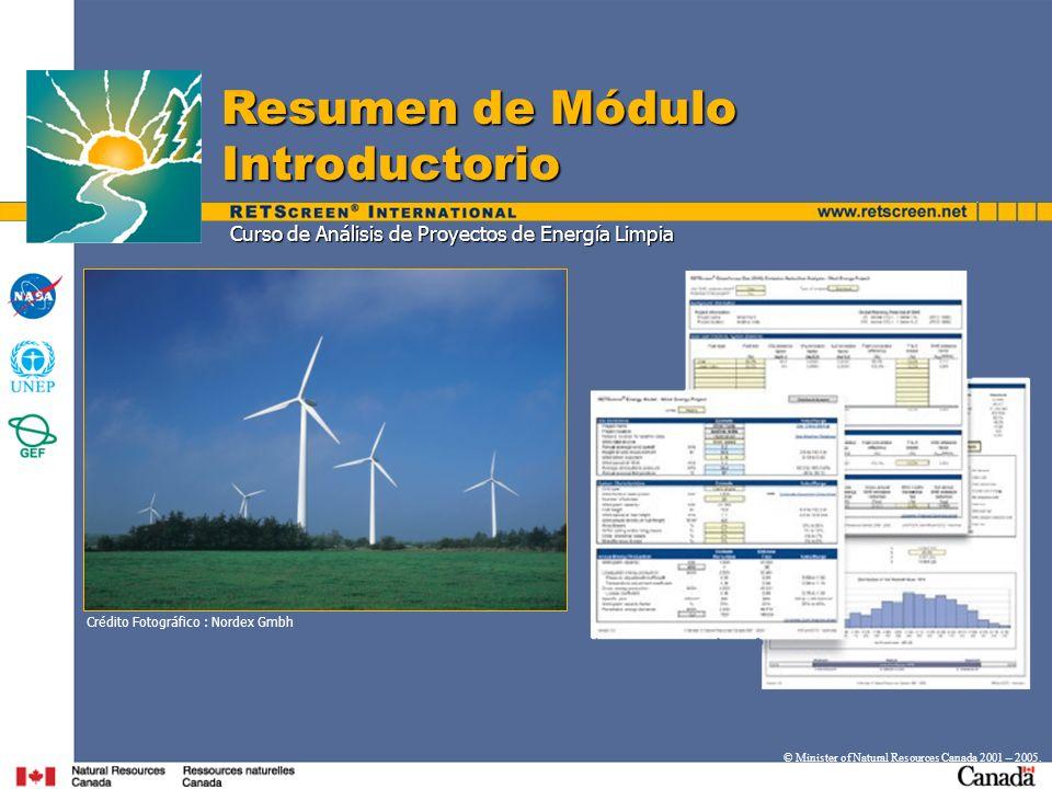 Curso de Análisis de Proyectos de Energía Limpia Resumen de Módulo Introductorio © Minister of Natural Resources Canada 2001 – 2005.