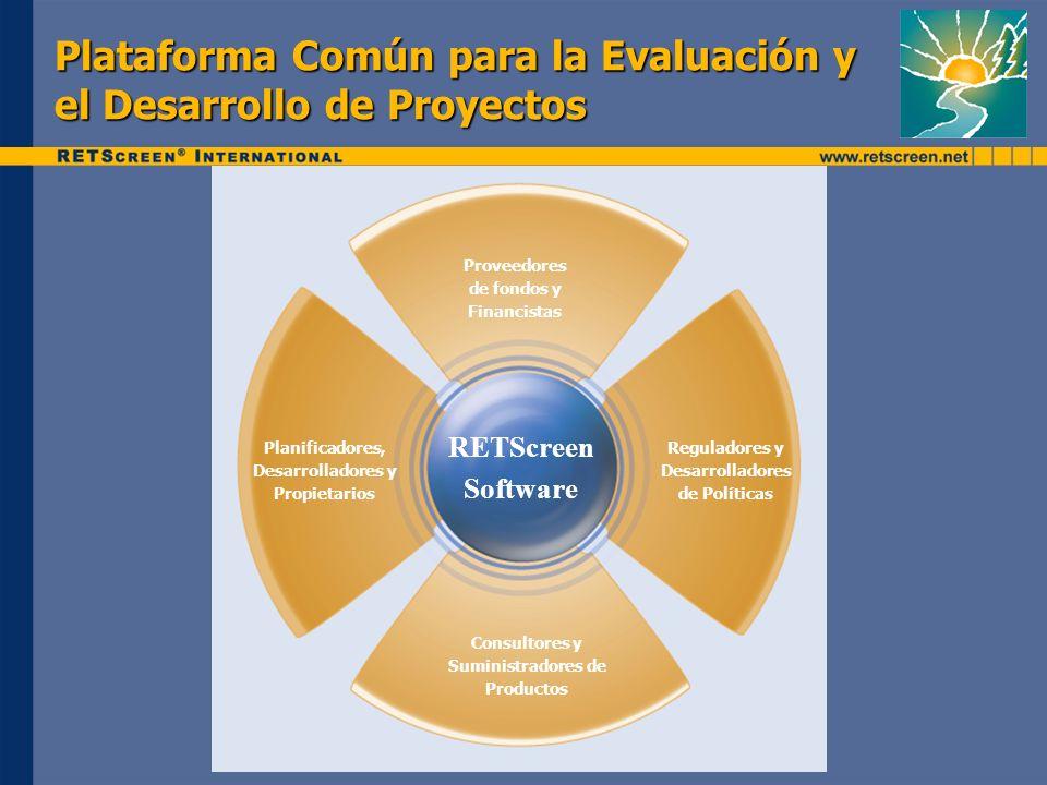 Plataforma Común para la Evaluación y el Desarrollo de Proyectos Proveedores de fondos y Financistas Reguladores y Desarrolladores de Políticas Consultores y Suministradores de Productos Planificadores, Desarrolladores y Propietarios RETScreen Software