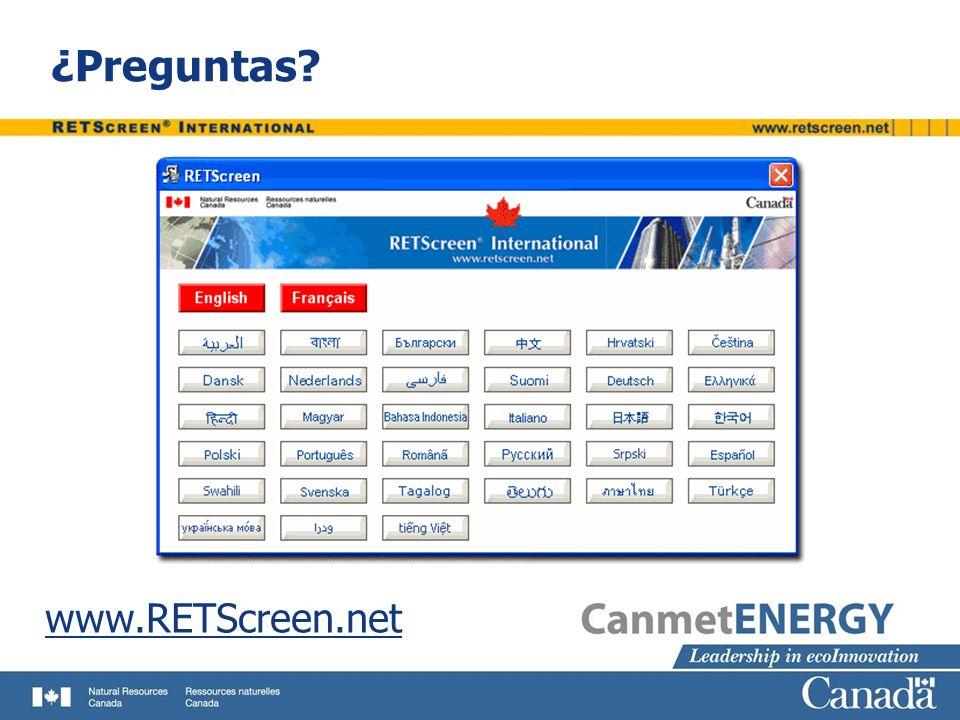 ¿Preguntas? www.RETScreen.net