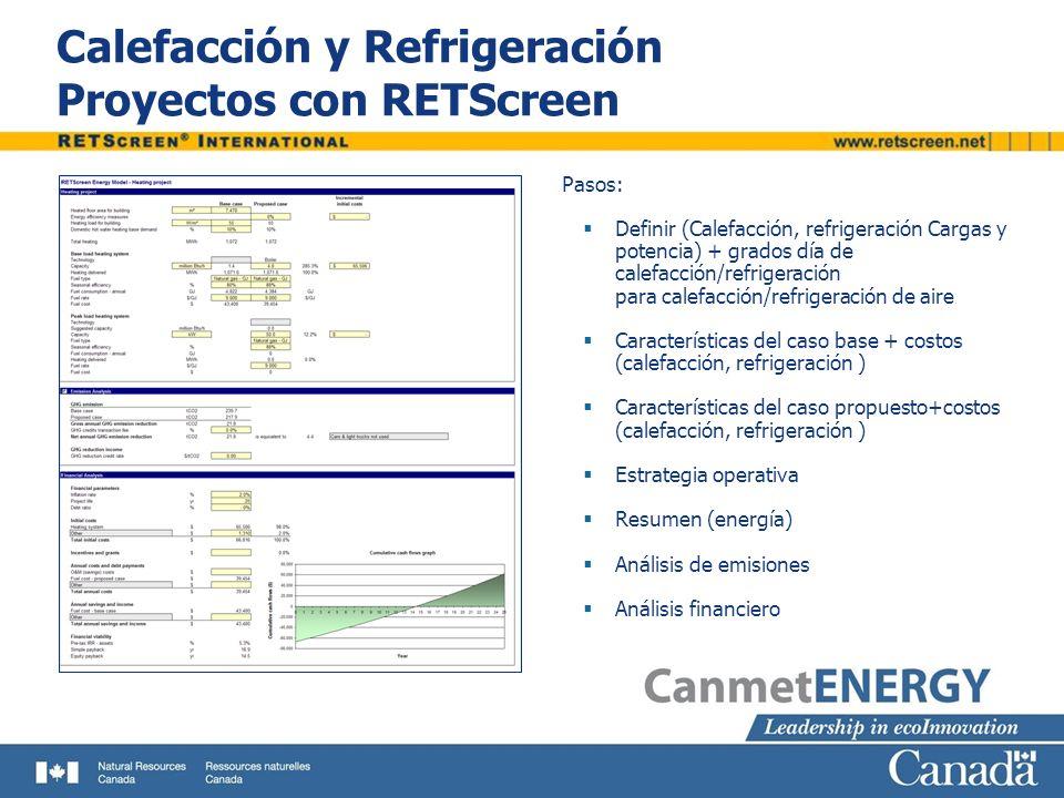 Tipos de Análisis Tipos de Proyectos: Calefacción Refrigeración Calefacción y refrigeración combinados