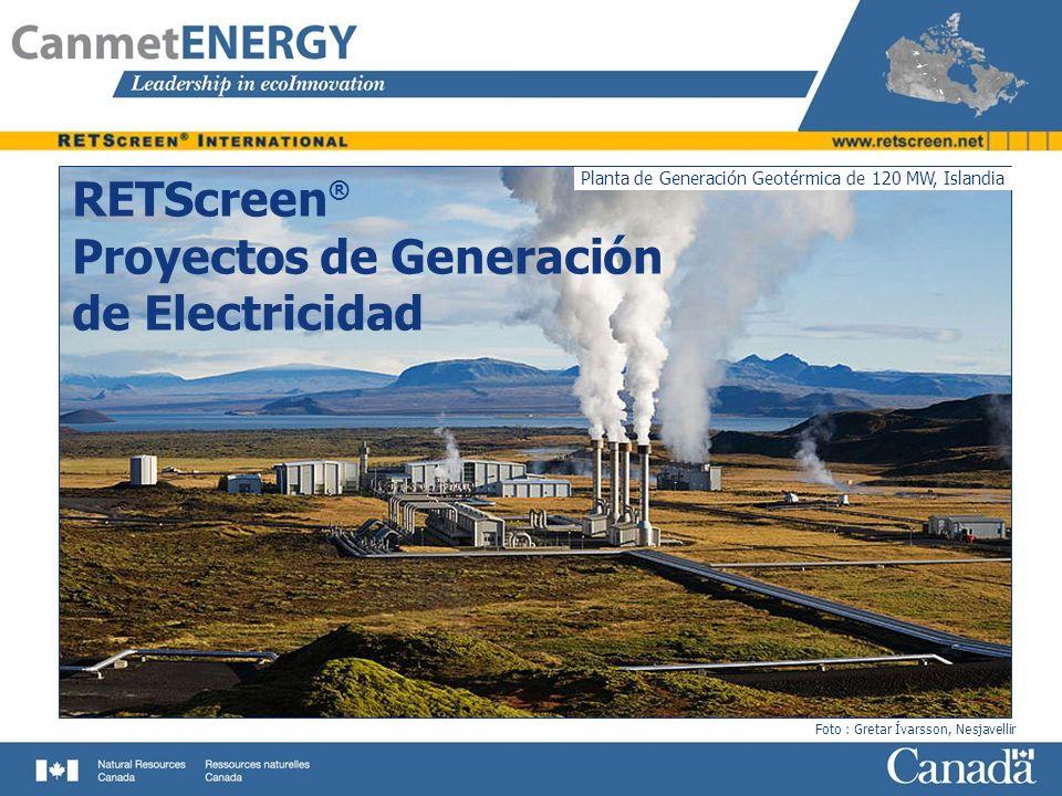 Planta de Generación Geotérmica de 120 MW, Islandia Foto : Gretar Ívarsson, Nesjavellir RETScreen ® Proyectos de Generación de Electricidad