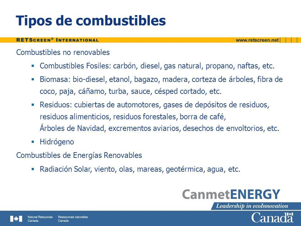 Tipos de combustibles Combustibles no renovables Combustibles Fosiles: carbón, diesel, gas natural, propano, naftas, etc. Biomasa: bio-diesel, etanol,