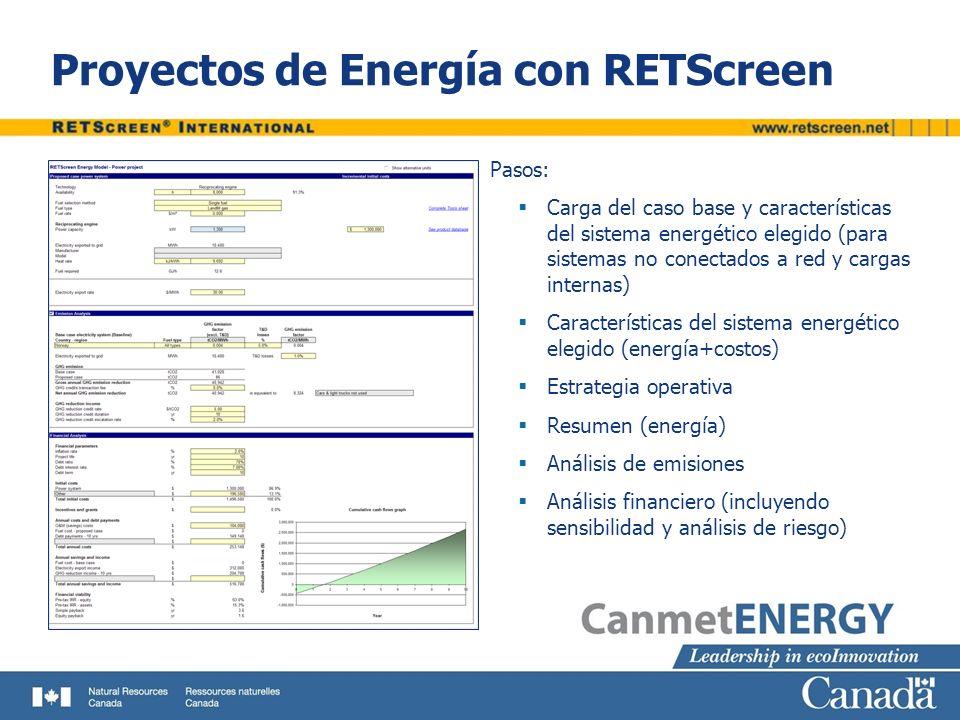 Proyectos de Energía con RETScreen Pasos: Carga del caso base y características del sistema energético elegido (para sistemas no conectados a red y ca