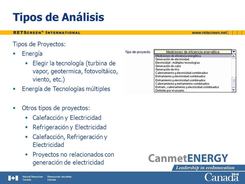 Tipos de Análisis Tipos de Proyectos: Energía Elegir la tecnología (turbina de vapor, geotermica, fotovoltáico, viento, etc.) Energía de Tecnologías m
