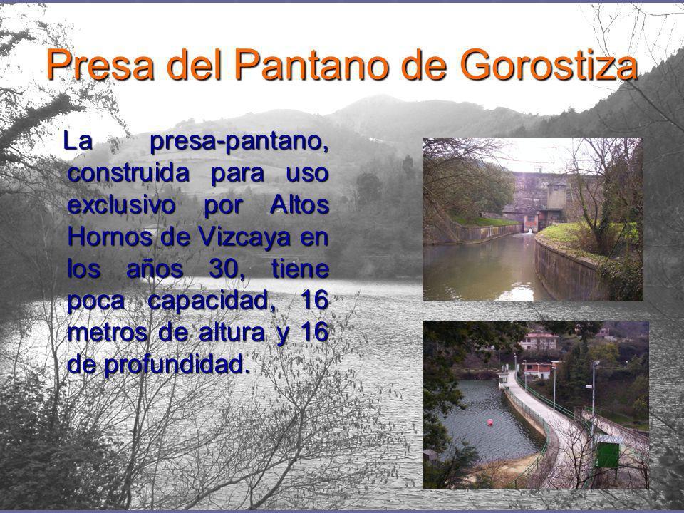 Presa del Pantano de Gorostiza La presa-pantano, construida para uso exclusivo por Altos Hornos de Vizcaya en los años 30, tiene poca capacidad, 16 metros de altura y 16 de profundidad.