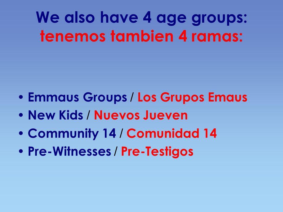 We also have 4 age groups: tenemos tambien 4 ramas: Emmaus Groups / Los Grupos Emaus New Kids / Nuevos Jueven Community 14 / Comunidad 14 Pre-Witnesses / Pre-Testigos