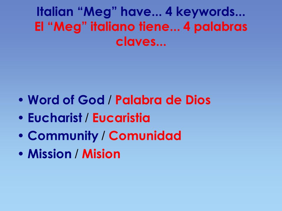 Italian Meg have... 4 keywords... El Meg italiano tiene... 4 palabras claves... Word of God / Palabra de Dios Eucharist / Eucaristia Community / Comun
