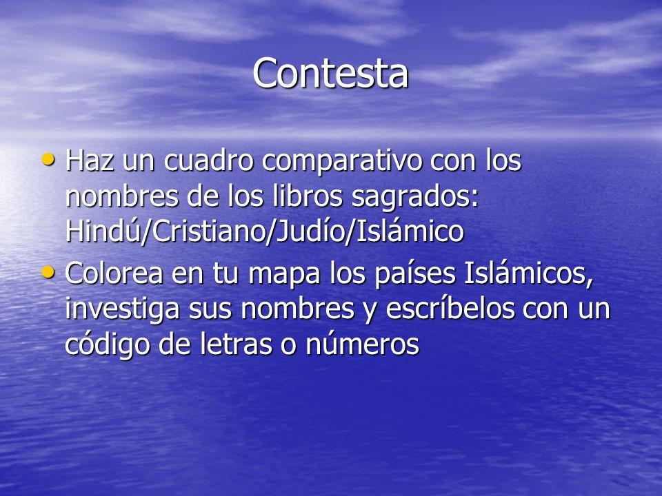 Contesta Haz un cuadro comparativo con los nombres de los libros sagrados: Hindú/Cristiano/Judío/Islámico Haz un cuadro comparativo con los nombres de
