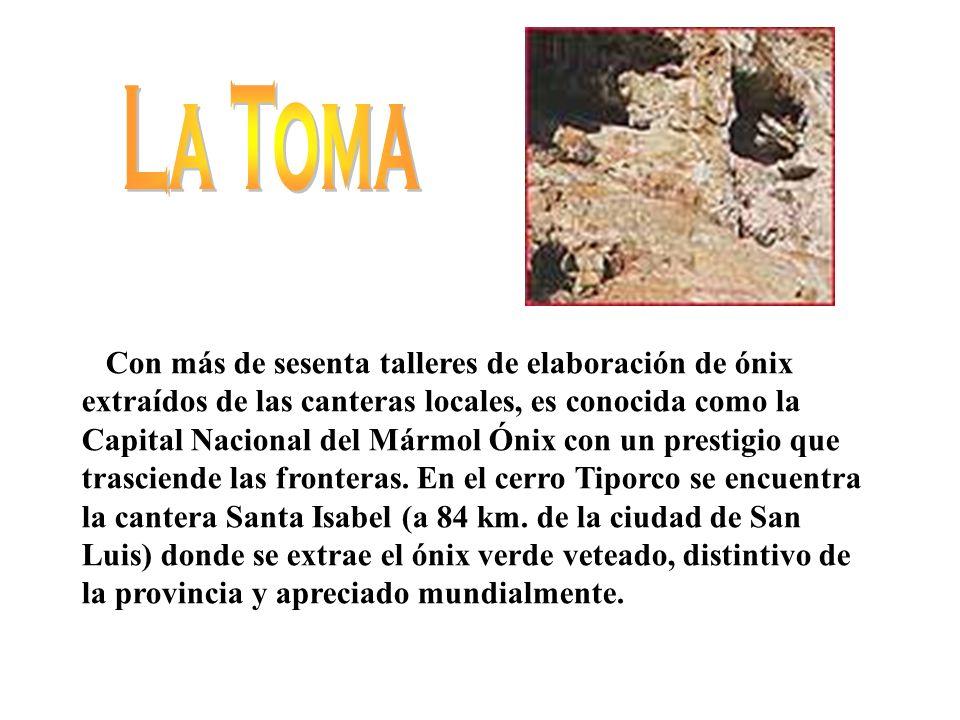 En el corazón de las Sierras de San Luis y al pie del cerro Tomolasta se ubica este pueblo encantador, a solo 83 km.