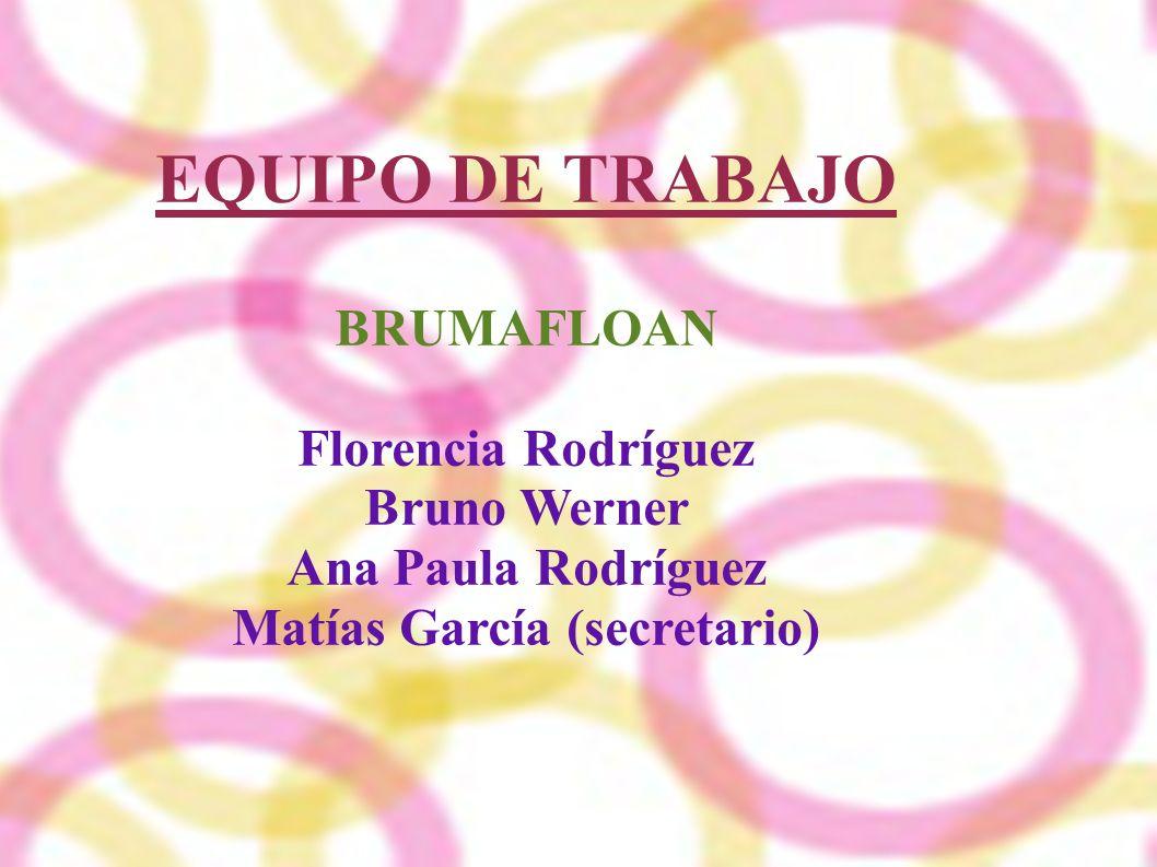 EQUIPO DE TRABAJO BRUMAFLOAN Florencia Rodríguez Bruno Werner Ana Paula Rodríguez Matías García (secretario)