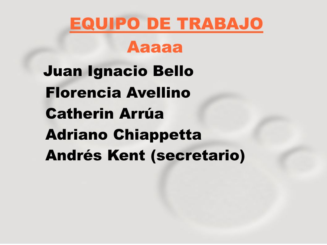 Equipo de trabajo: Juro Vida Julia Chucarro Virginia Morales Danilo Pirotto Rodrigo Aranco secretario
