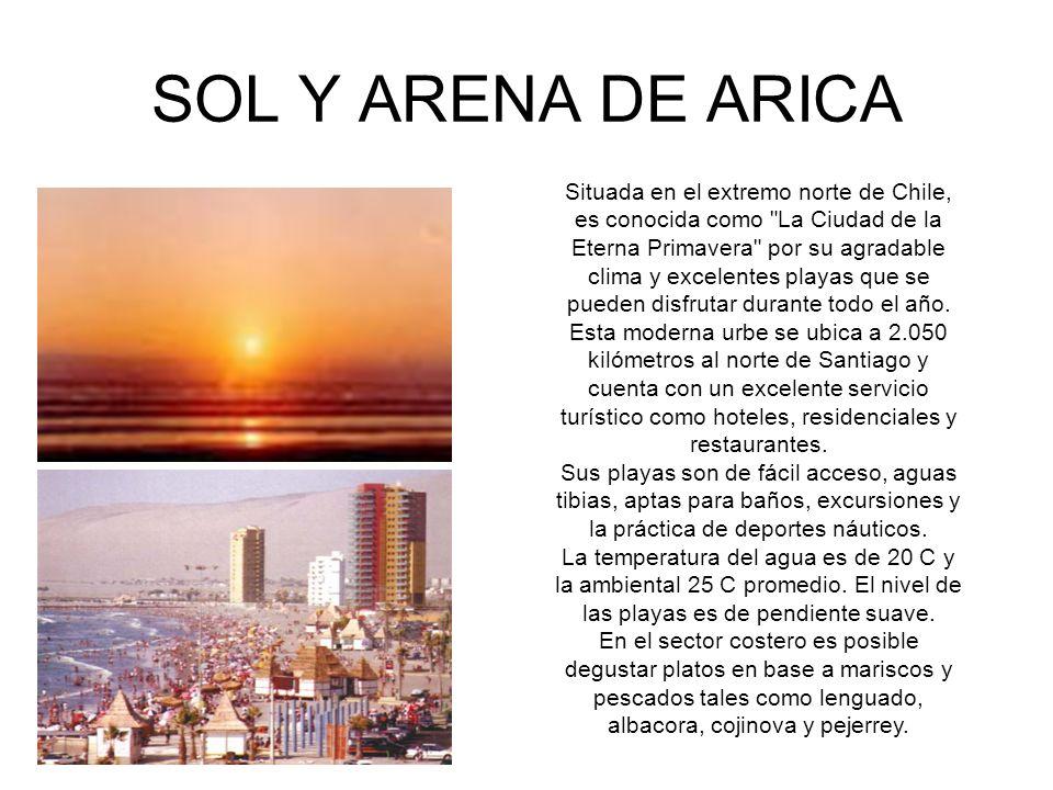 SOL Y ARENA DE ARICA Situada en el extremo norte de Chile, es conocida como La Ciudad de la Eterna Primavera por su agradable clima y excelentes playas que se pueden disfrutar durante todo el año.