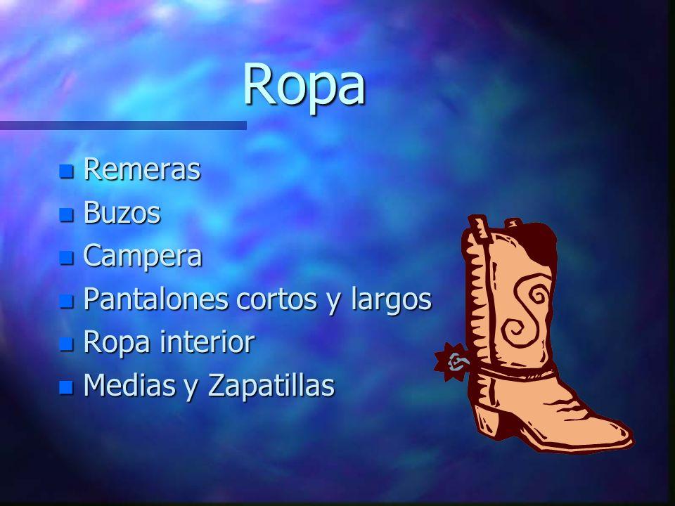Ropa n Remeras n Buzos n Campera n Pantalones cortos y largos n Ropa interior n Medias y Zapatillas